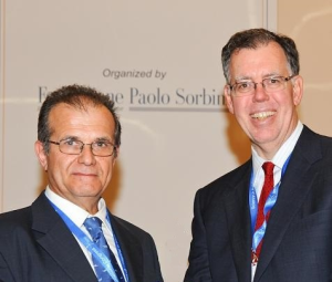 "Gabriele Buracchi con Barry Sears, il padre della Dieta Zona, al ""Science in Nutrition International Congress"""