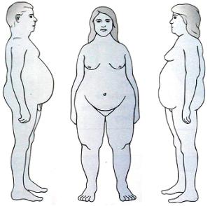 La diversa distribuzione del grasso nell'uomo e nella donna