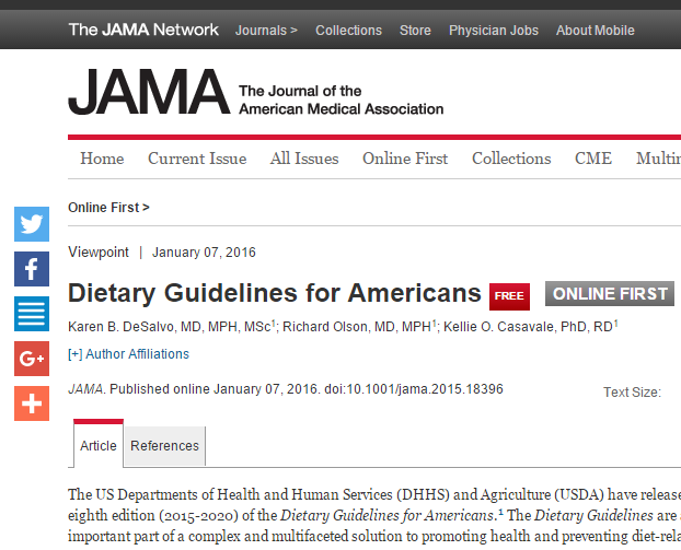 NEWS. JAMA. LInee guida alimentazione dagli U.S.
